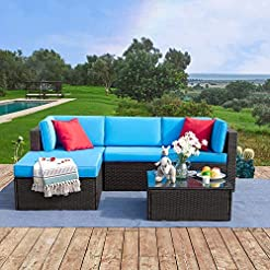Garden and Outdoor Tuoze 5 Pieces Patio Furniture Sectional Set Outdoor All-Weather PE Rattan Wicker Lawn Conversation Sets Cushioned… patio furniture sets
