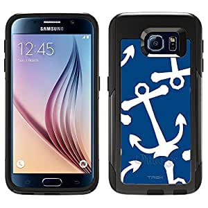 Skin Decal for Otterbox Commuter Samsung Galaxy S6 Case - Anchors White on Blue