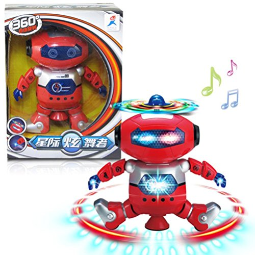 Red Electronic Walking Dancing Smart Space Robot Astronaut Kids Music Light Gift Toy Gift ()