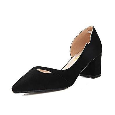 Unbekannt Damen Pumps Verbindung Nubukleder Gummi Sohle Mikrofaser Spitze Zehen High-Heel Schuhe