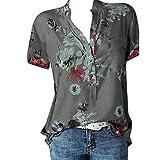 Software : Aniywn Ladies Printing Plus Size Short Sleeve Basic Blouse Tee Shirt Women Casual Button Pocket Tops Gray