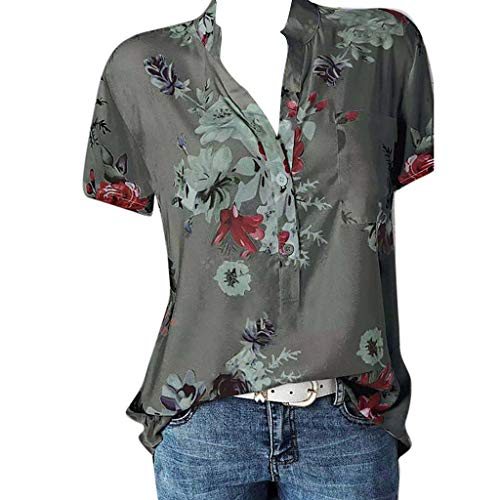 POQOQ Blouse Women Printing Pocket Plus Size Short Sleeve Blouse Easy Top Shirt(Gray,L)]()