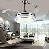Yue Jia 42 Inch Promoting Natural Ventilation Invisible Fan Modern Luxury Dimmable (Warm/Daylight/Cool White) Chandelier Foldable Ceiling Fans for Rooms With Lights Ceiling Fan with Remote Control