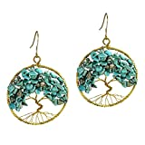 DEW Drops Reconstructed Turquoise Eternal Tree of Life Brass Dangle Earrings