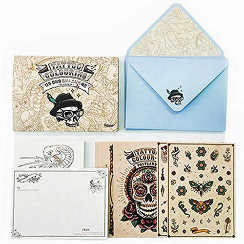 Sailor Heart Tattoo (Tattoo Coloring Postcards Kit Coloring Book Kits DIY Stationery Cards Set with 20 Coloring Postcards 10 Envelopes 70 Coloring Stickers Greeting Cards Set)