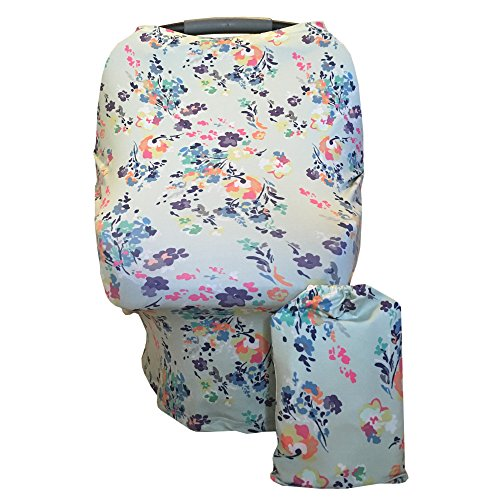 Multi-Use Nursing, Baby Car Seat, Stroller, Shopping Cart & High Chair Cover- Floral Pattern ...