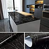 cheap kitchen countertops YENHOME Faux Marble Countertops Peel and Stick 24 x 196 inch Jazz Black Countertop Contact Paper Marble Wallpaper for Kitchen Cabinets Shelf and Drawer Liner Self Adhesive Vinyl Film
