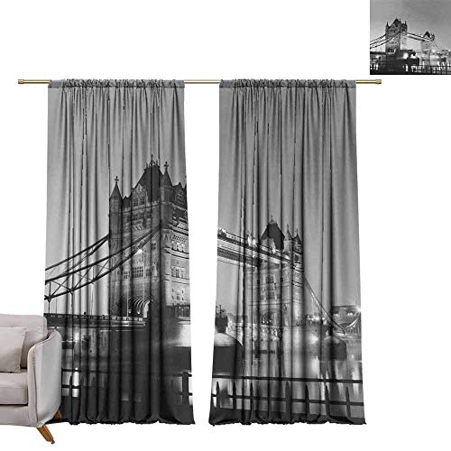 berrly Room Darkening Wide Curtains Tower Bridge Black and White in London Over Thames River as The Famous Landmark W72 x L108 Window Curtain Fabric