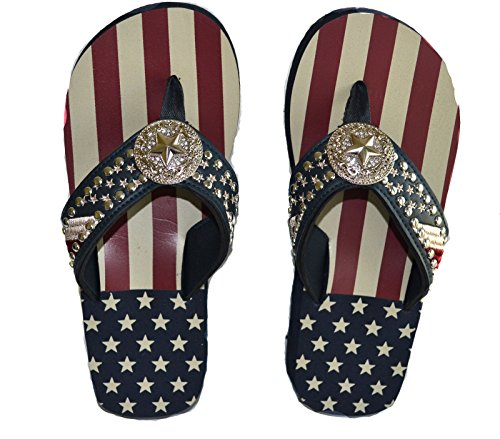 Texas Flag Lone Star women red blue rhinestone star concho beach summer sandals flip flops S M L (XL)