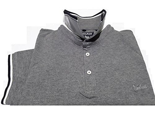 Grigio Grey Contrasto Woolrich Manica 185 Medium Uomo Polo Wopol0470 Fit Melange Monterey Slim Stretch Collo Corta In Z77Pwx