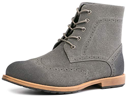 Men's Suede Oxford Derby Boots Wingtip Brogue Dress Casual Ankle Boots (9(D,M) -