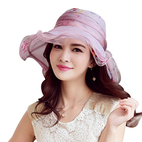 HomArt Women's Triple Crown of Thoroughbred Racing Hats Mulberry Silk Summer Beach Floral Bowtie Hat, Pink