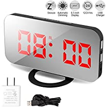 """Alarm Clock, Digital Clock with Large 6.5"""" LED Dimmer Display, Alarm Clocks for bedrooms, Dual USB Charger Ports, Snooze, Mirror Surface"""