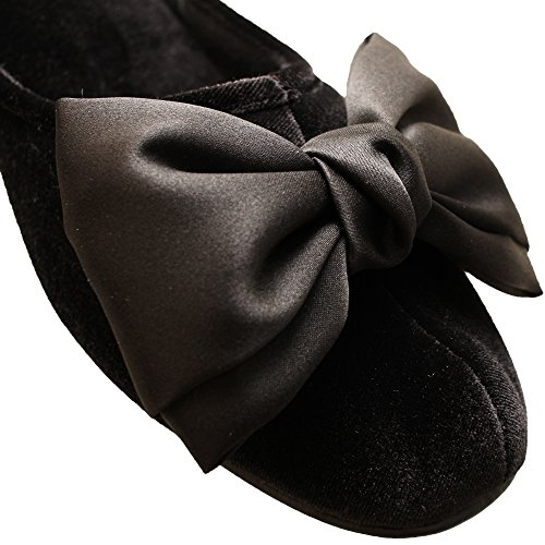 Heel Women's Indoor yusi High Slippers Black Polyester dtSpqv