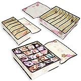 Drawer Dividers Closet Organizers Bra Underwear Lingerie Socks Tie Storage Boxes (Flower Print)