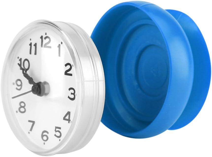 Bicaquu Waterproof Suction Wall Window Mirror Bath Shower Clock Bathroom Accessories Blue