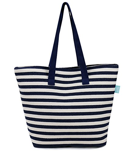Thick Canvas Beach Bag With Inner Zipper Pocket, Mobile Pocket - Tote with Soft Handles, (Inner Pocket)