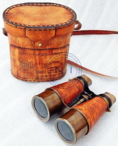 REPLICA WAREHOUSE Antique-Brass-Binocular-Vintage-Leather-Telescope-Pirate-Spyglass-Binocular-Gift