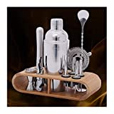 SEJNGF 9-piece Premium Cocktail Making Set Stainless Steel Bar Tool With Bamboo Frame Base 750ML Cocktail Set Cocktail Kit