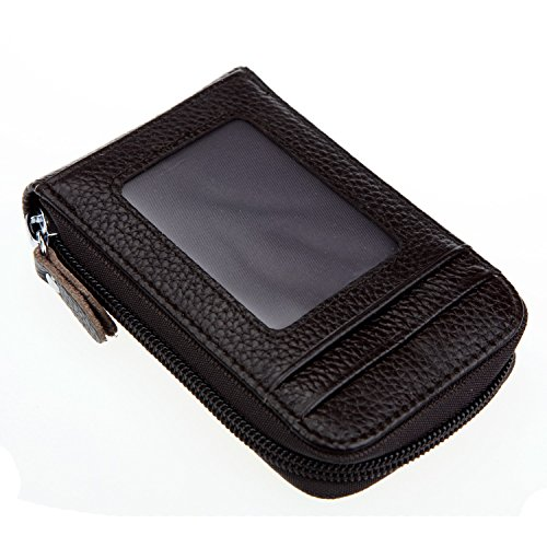 DKER Genuine Leather Mini Credit Card Case Organizer Compact Wallet with ID Window - Coffee
