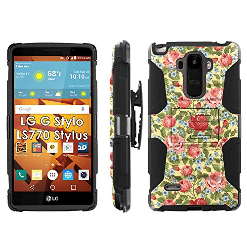LG G Stylo LS770 H631 Phone Cover, Summer Roses- Blitz Hybrid Armor Phone Case for [LG G Stylo LS770 H631] with [Kickstand and Holster] by Mobiflare