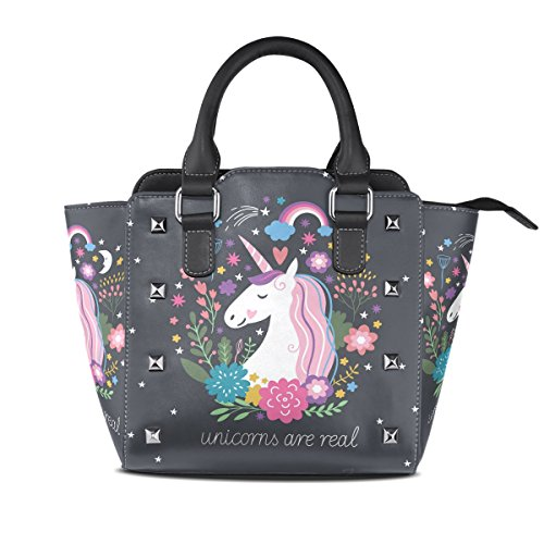 Bag Zip Closure Women Handle Leather Seamless Top Shoulder PU BENNIGIRY Handbags Unicorn q0FwxfXwC