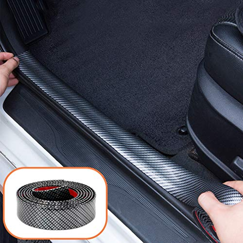 Universal Door Guard Bumper Carbon Fiber Rubber Front Rear Guard Bumper Seal Strip Front Rear Door Entry Sill Guard Scuff Plate Protectors for Most Cars 100% waterproof (Width 1.1in Long 9.8Ft)