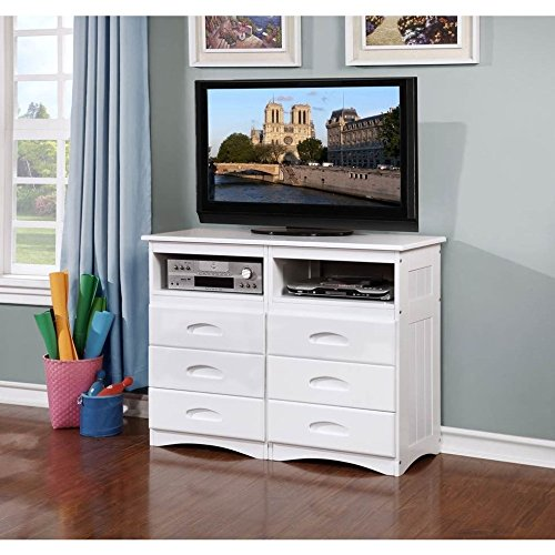 American Furniture Classics White Entertainment Dresser with Six (Classic Style Dresser)