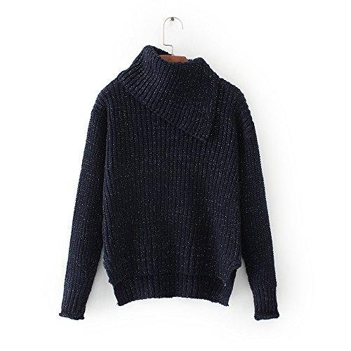 Dark Dark Dark Blue Pullover Felpa maglia Jumper alto MEI MEI MEI MEI in larghi Donna a alto lavorata colletto amp;S maglia ZwvBFq86