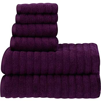 PH 6 Piece Purple Oxford Textured Towel Set with 30 X 54 Inches Bath Towels, Light Purple Solid Color Ribbed Absorbent Quick Dry Fade Resistant Low Lint ...