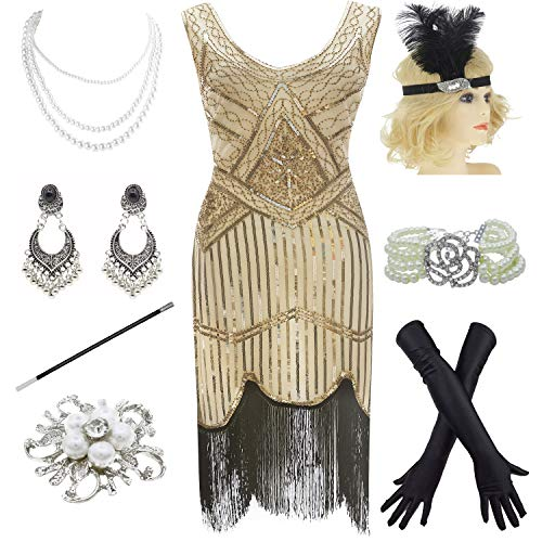 1920s Gatsby Fringed Paisley Plus Size Flapper Dress with 20s Accessories Set (XXXL, Beige-Black)]()