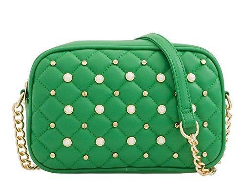 pochette Sac Small lanière Vert à synthétique Lilas chaîne matelassé neuf main cuir clous Femmes perle cOqWW8Py61