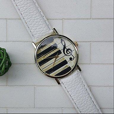 Teclas de piano gclef Reloj lederne Reloj mujer RELOJ Hombre Reloj Regalo para usted regalo Idea personalizadas Reloj Músicos Blanco blanco Talla:Für Damen: ...