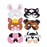 6 x Assorted EVA Foam Farmyard Animal Masks For Parties **Free UK Post** Cat, Dog, Rabbit, Cow, Horse, Pig Birthday Party Bag Fillers, Fancy Dress, Halloween. Easy To Wear And Fun.