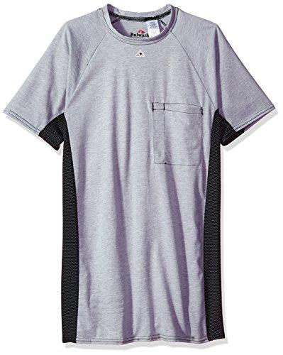 Bulwark Men's Short Sleeve Two-Tone Base Layer, Concealed Pocket, Grey, X-Large
