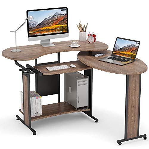 L-Shaped Computer Desk, LITTLE TREE Rotating Corner Desk & Modern Office Study Workstation, for Home Office or Living Room (Pine finsih)