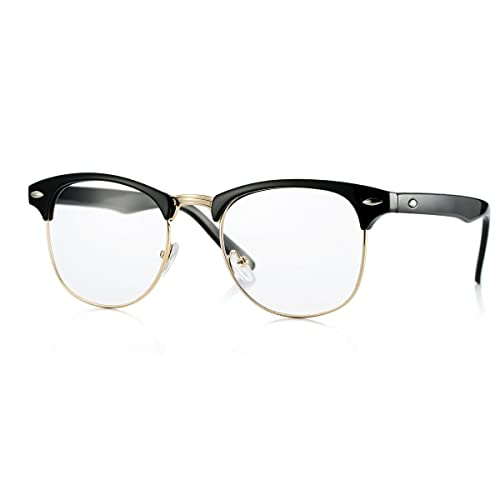 75143b0b470 Fake Nerd Glasses Semi-Rimless Clubmaster Clear Lens Frame Horn Rimmed  (Black Gold