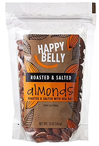 Happy Belly Roasted & Salted California Almonds, 16 Ounce, Pack of 2 - Buttery Almond
