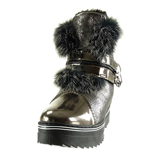 Angkorly - damen Schuhe Stiefeletten - Schneestiefel - bi-Material - Plateauschuhe - Pelz - String Tanga - Reißverschluss flache Ferse 3 CM Silber