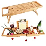 F.G.Y Bathtub Tray & Laptop Desk Table Bamboo, 2 In 1 Upgraded Design Folding Bathtub Caddy Tray and Organizer, Transforms Bathtub Tray To Bed Tray, for an Ultimate Relaxation in The Bath or in Bed