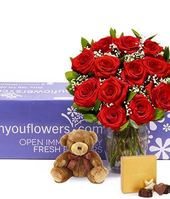 Flowers - One Dozen Long Stemmed Red Roses + Godiva + Bear (Free Vase Included) - 1 Dozen Red Rose Bouquet