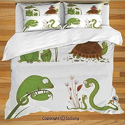 Juego de funda nórdica para cama de reptiles, familia reptil ...