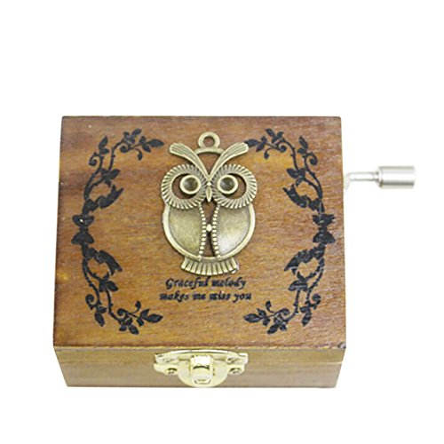 Balai Wooden Music Box With An Owl On Top Hand Wind Up Mechanism Music Box