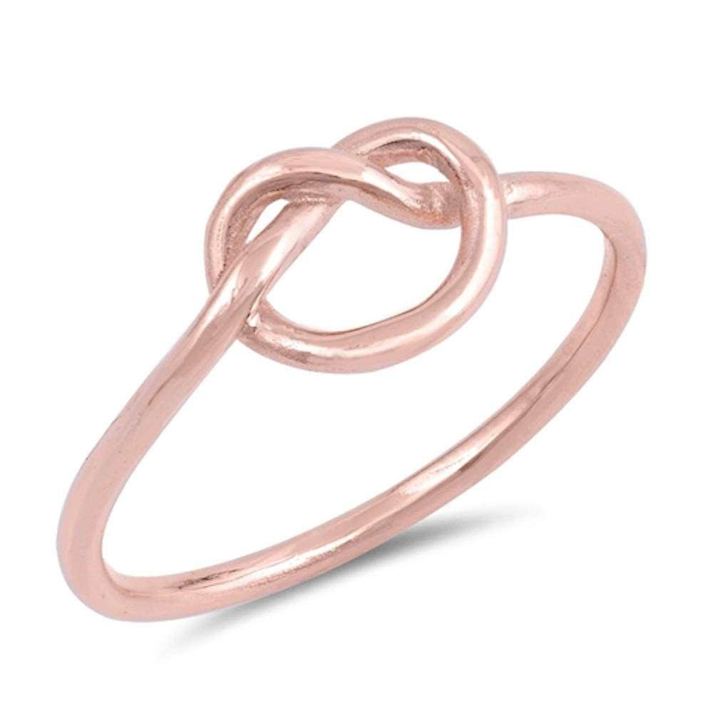 Brightt Rose Gold Plated Love Heart Infinity Knot .925 Sterling Silver Ring Sizes 3-12