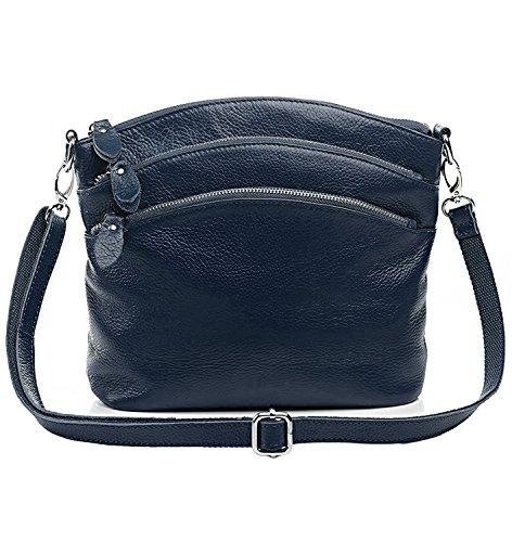 Leather Pocketbook - YALUXE Women's Triple Zipper Soft Leather Organizer Small Purse Crossbody Shoulder Bag Dark Blue