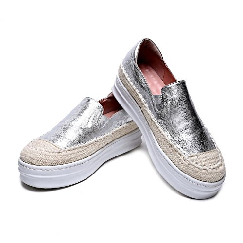 Argento Donna Plateau Leather Roseg Espadrillas U1IUF