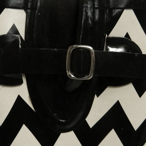 Nomad Damesplas Regenlaars, 6 B (m) Ons, Zwart / Witte Chevron