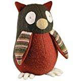 """Cate and Levi 20"""" Handmade Owl Stuffed Animal (Premium Reclaimed Wool), Colors Will Vary"""