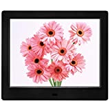 MRQ 8 Inch Digital Photo Frame Display Photos with Background Music 1080P Video, Digital Picture Frame with HD IPS 180 Degree 4:3 Wide Viewing Angle with Remote Control, Support USB SD Solt Black