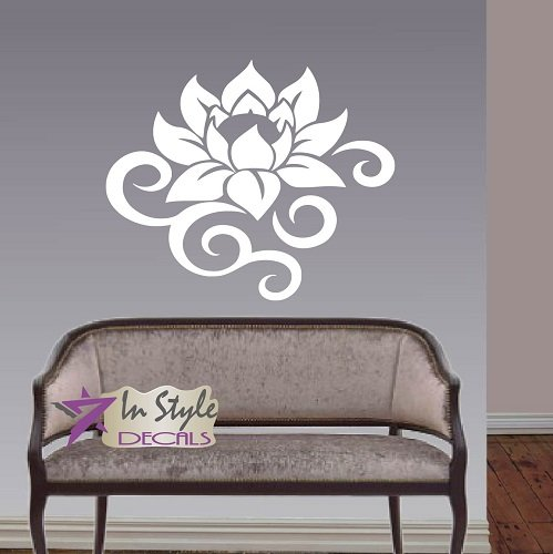 Wall Vinyl Decal Home Decor Art Sticker Lotus Flower Abstract Floral Pattern Bedroom